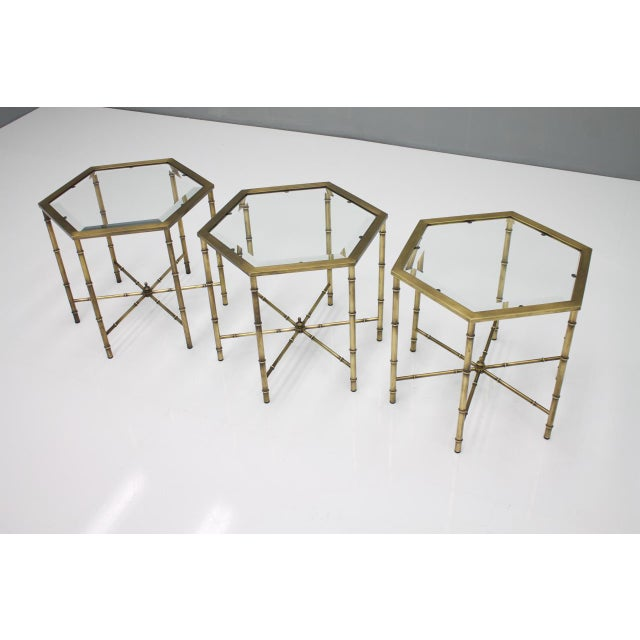 Set of Three Octagonal Side Table in Brass and Glass, 1970s For Sale - Image 10 of 12