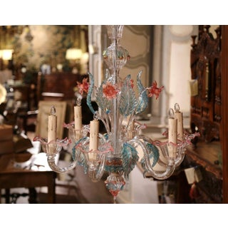 Mid-20th Century Italian Six-Light Blown Glass Murano Chandelier With Flowers Preview
