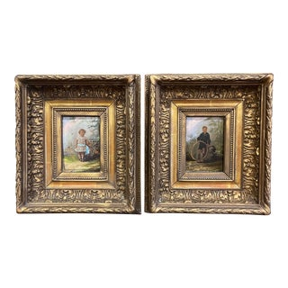 Pair of 19th Century French Signed Oil on Board Paintings in Carved Gilt Frames For Sale