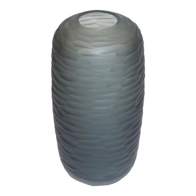 Salviati Vintage Italian Minimalist Smoked Gray Battuto Murano Art Glass Vases For Sale