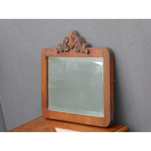 Glass Antique Mid-Century Modern Federal Rustic Beveled Edge W Aged Silver Wall Mirror For Sale - Image 7 of 13