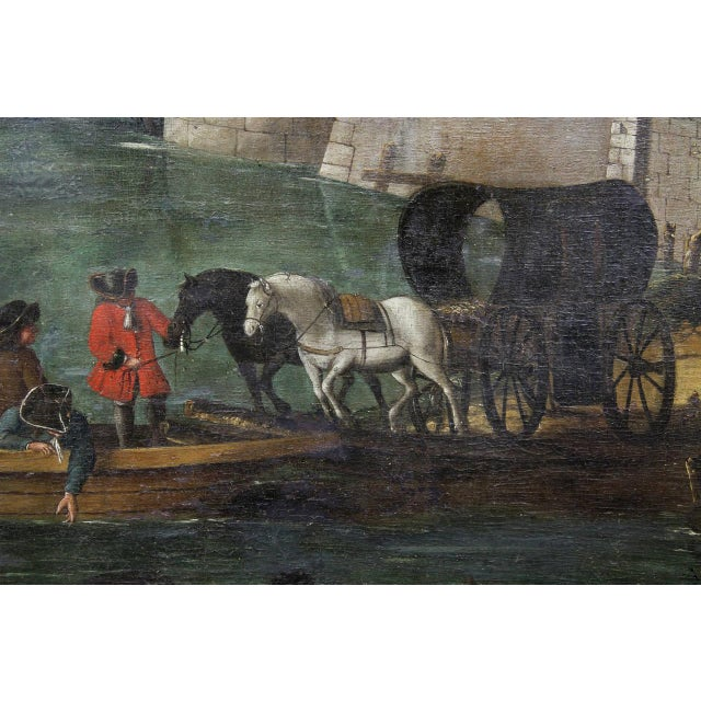 Early 18th Century Flemish Oil on Canvas Painting of a Boat in Harbor For Sale - Image 5 of 11