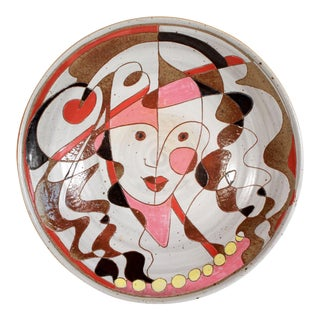 Mid 20th Century Art Pottery Incised Harlequin Jester Wall Charger For Sale