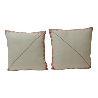 Pair of 19th Century Red and White Embroidered Greek Isles Decorative Pillows For Sale