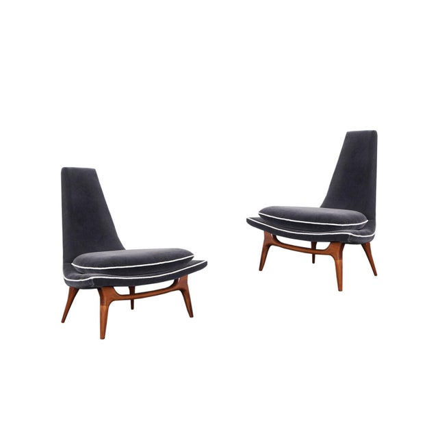 Vintage High Back Lounge Chairs by Karpen For Sale - Image 9 of 9