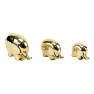 Mid-Century Brass Elephant Figures - Set of 3 For Sale