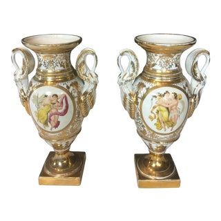 1970s Antique Georges Large Porcelain Swan Handle Gardeners Vase- A Pair For Sale