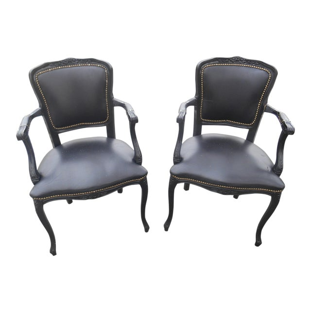 20th Century French Louis XV Style Black Leather Bergere Chairs - a Pair For Sale
