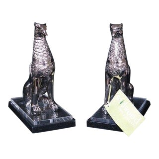 Wildwood Griffin Chrome on Marble Bases Bookends - a Pair Preview