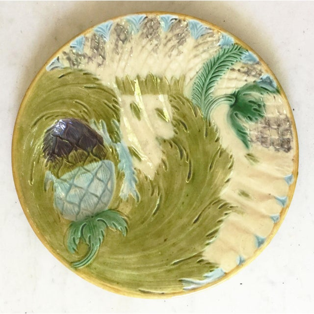 Majolica 1880s Majolica Asparagus Plate Attributed to Saint Amand For Sale - Image 4 of 10
