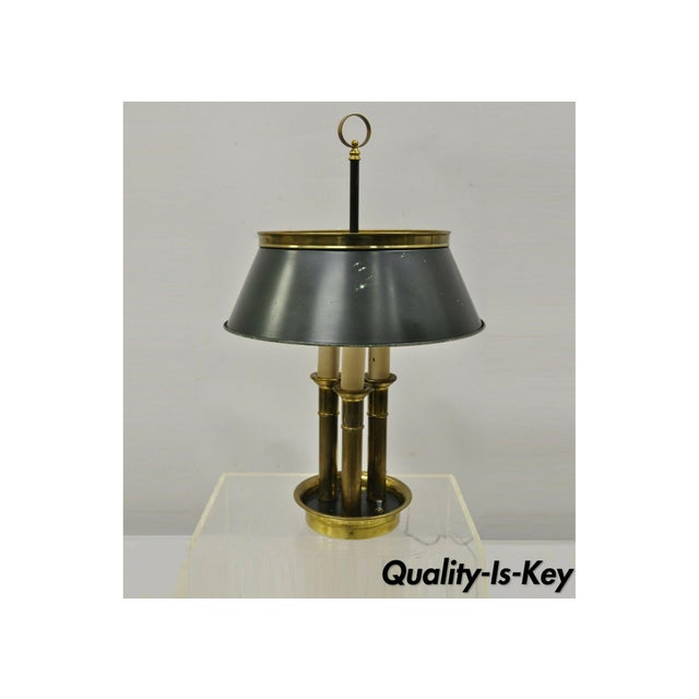 Vintage Green Tole French Empire Brass 3 Light Desk Bouillotte Table Lamp For Sale - Image 11 of 11