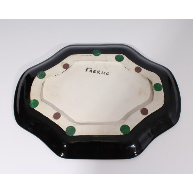 Late 20th Century Stephen Fabrico Signed Postmodern Black on Black Ceramic Tray For Sale - Image 5 of 8