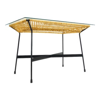 1960s Mid Century Modern Arthur Umanoff Cane + Iron Table For Sale