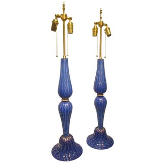 A Pair Royal Blue Hand-Crafted Venetian Lamps For Sale