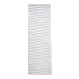 "Grano Sculpted Bath Rug 23 1/2"" x 72"" in White For Sale"