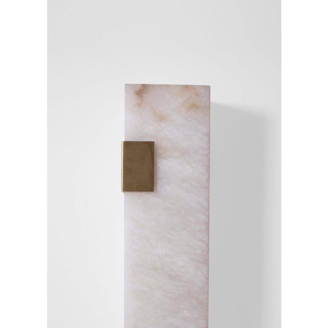 Contemporary Modern Contemporary 003-2c Sconce in Brushed Brass and Alabaster by Orphan Work For Sale - Image 3 of 10