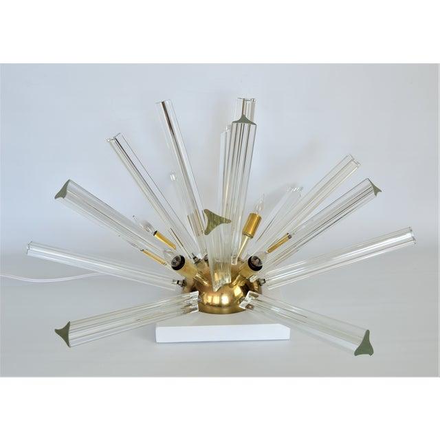 Venini Mid-Century Modern Italian Venetian Glass & Brass Sputnik Table Lamp Millennial - Image 2 of 11