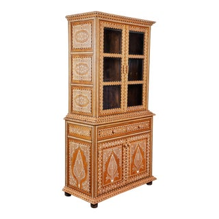 20th C. Indian Bone Inlaid Display Cabinet