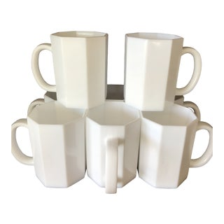 1980s Vintage White Octagon Coffee Mugs - Set of 8 For Sale
