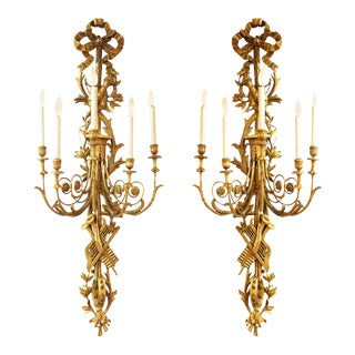 Louis XVI Neoclassical Monumental Carved Giltwood Wall Sconces With Trophies - a Pair For Sale