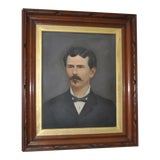Image of 19th Century Oil Portrait of a Mustached Man C.1880 For Sale