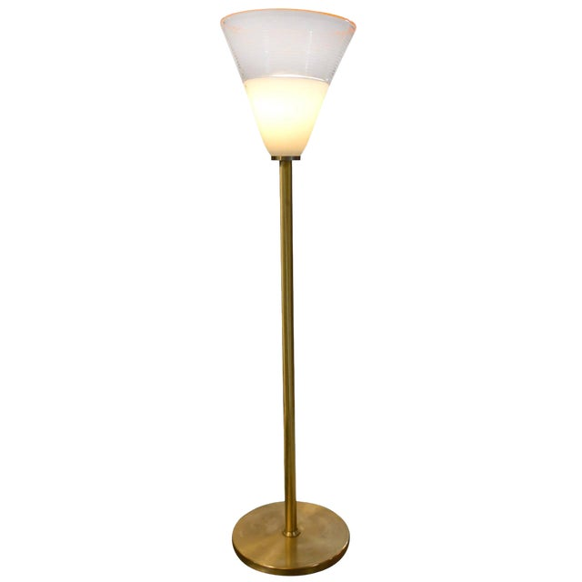 Brass Floor Lamp with Large Murano Shade For Sale