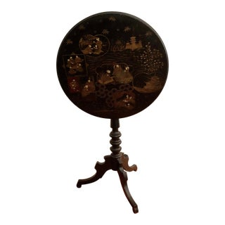 Antique Black Tilt Top Table With Painted Gold Chinoiserie Scene For Sale
