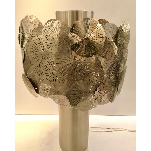 Stylish Modern Studio A Home Lily Pad Silver Metal Table Lamp, showroom floor sample, original retail $2997