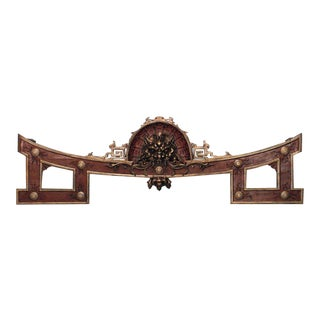 Asian Chinese Style Red and Gold Painted Overdoor Cornice Panels - a Pair For Sale
