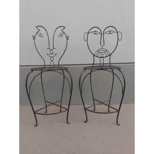 John Risley Style Sculptural Figural Wrought Iron Bar Stools - a Pair For Sale - Image 13 of 13