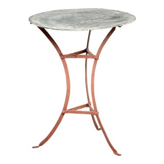 Vintage French Zinc-Top Bistro or Garden Table For Sale