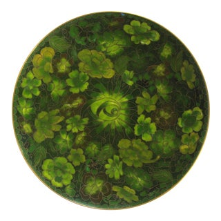 Green Flower Cloisonné Plate For Sale