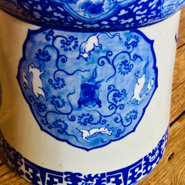 19th Century Antique Glazed Terracotta Japanese Blue & White Stand For Sale In Baltimore - Image 6 of 11