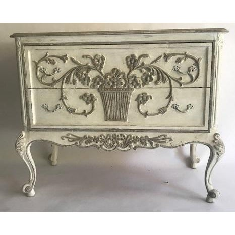 1960s Hand Painted White and Gray 2-Drawer Chest For Sale - Image 4 of 4