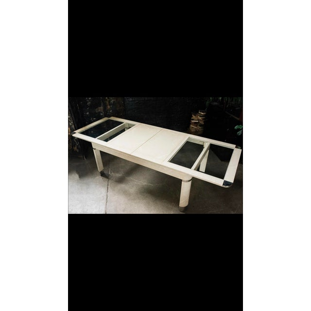 1980s Modernist Lacquered Ivory Parchment Skin, Chrome & Glass Extendable Dining Table For Sale - Image 9 of 13