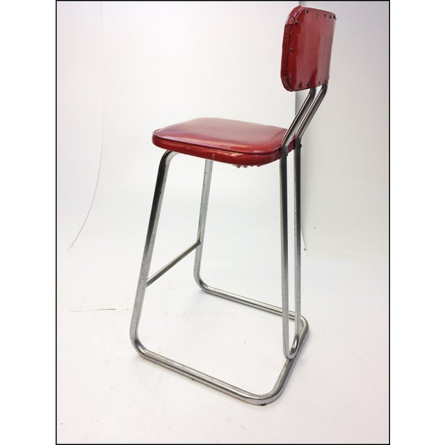 Mid Century Modern Red Vinyl Bar Stool - Image 9 of 11