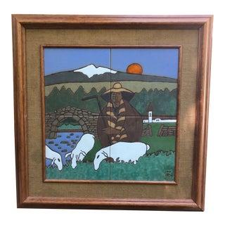 1960s Vintage Modernist Shepherd Ceramic Tile Wall Hanging For Sale