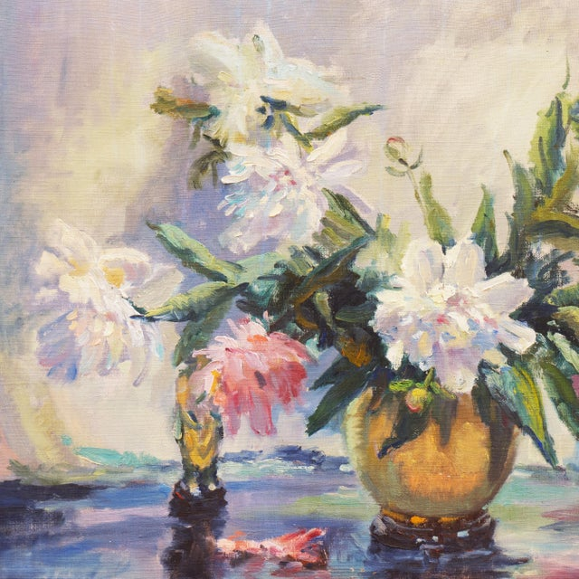 Canvas 'Pink and White Dog Roses' by Dorothy Frants, 1960; Oil Still Life, Chicago Woman Artist For Sale - Image 7 of 8