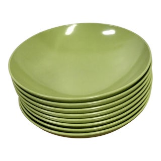 Mid Century Modern Melmac 8 Hors D'oeuvres Plates and One Small Serving Bowl- 9 Pieces For Sale