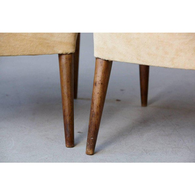 Pair of Mid-Century High Back Walnut Lounge Chairs For Sale - Image 4 of 10