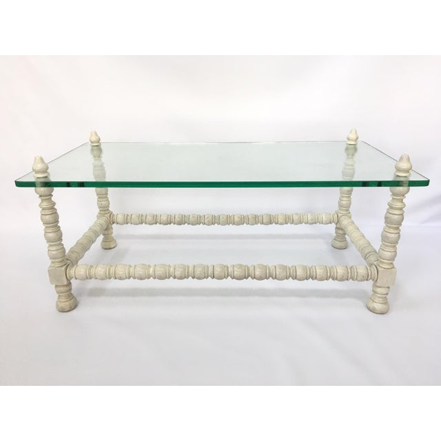 Hollywood Regency Wood & Glass Bobbin Leg Coffee Table - Image 2 of 6