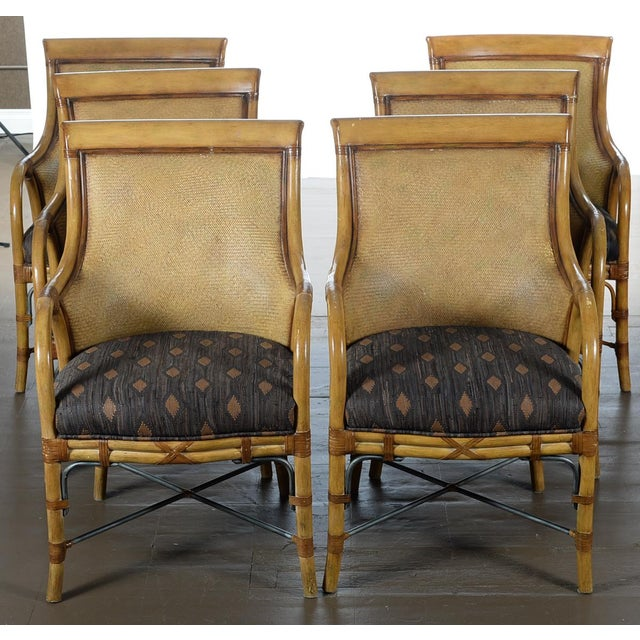 Hollywood Regency McGuire Style Chairs - Set of 6 - Image 2 of 10