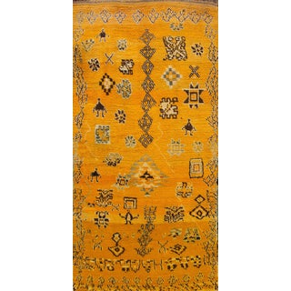 "Apadana - Vintage Yellow Persian Carpet, 4'3"" x 9'"