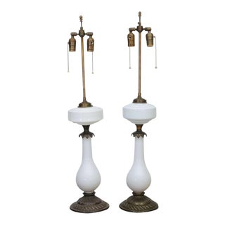 Pair of Electrified Milk Glass and Brass Oil Lamps as Table Lamps For Sale