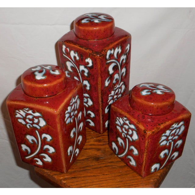 Chic Kitchen Oxblood Red Glaze Pottery Canisters - Set of 3 - Image 2 of 13