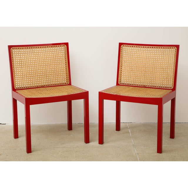 "Contemporary Set of Four Red Lacquered ""Bankshuhl"" Chairs by Willy Guhl for Stendig For Sale - Image 3 of 13"