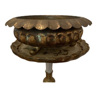 Vintage Brass Scalloped Footed Urn For Sale