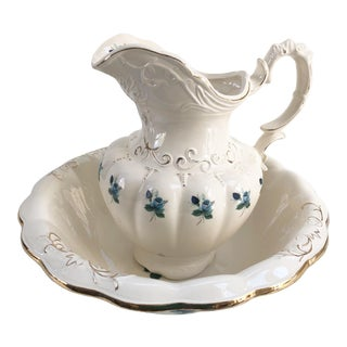 19th-Century Antique Blue & White Wash Bowl and Pitcher - Set of 2 For Sale