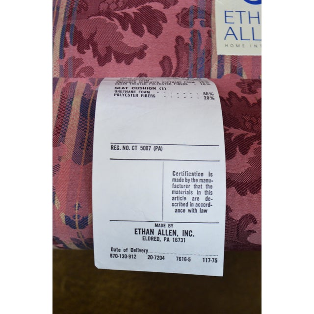 Chippendale Ethan Allen Chippendale Style Cherry Clean Upholstered Wing Chair For Sale - Image 3 of 12