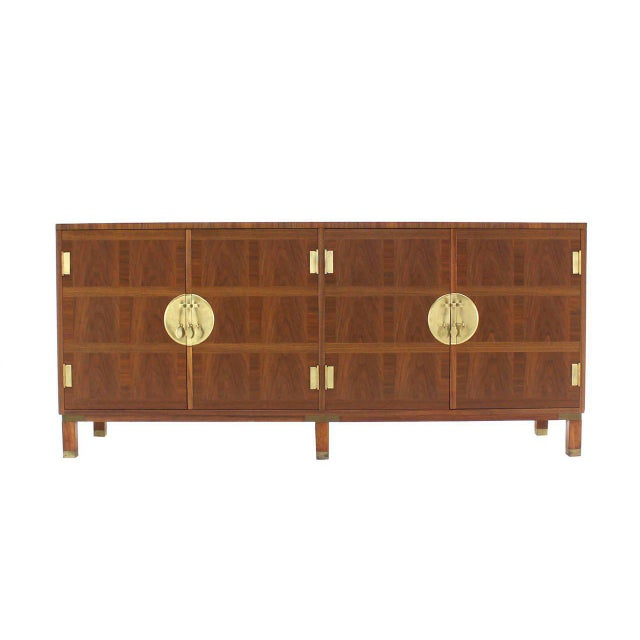 Brass Baker Mid-Century Modern Long Walnut Dresser Brass Hardware Pulls For Sale - Image 7 of 8